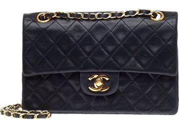Chanel Vintage Classic Double Flap Quilted Small Black