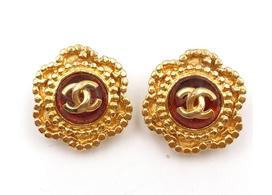 Chanel Vintage Gripoix Clip On Earrings Metal 24K Gold Plated Orange