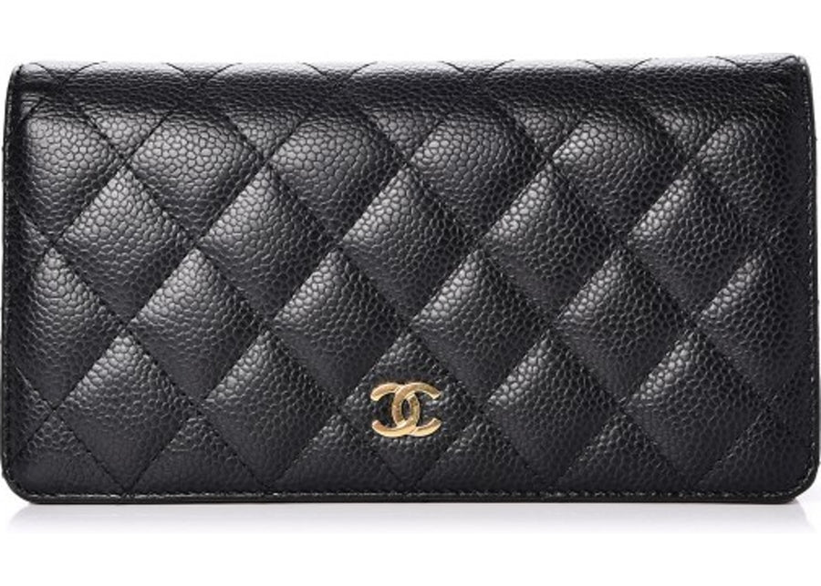 Chanel Yen Wallet Quilted Diamond Black