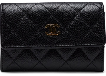 Chanel CC Card Holder Quilted Diamond Black