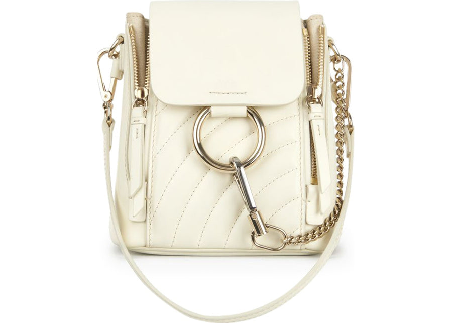Chloe Faye Backpack Quilted Mini Natural White