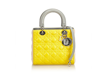 Dior Lady Dior Top Handle Yellow Gray Pink