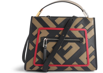 Fendi Runaway Crossbody FF Small Tobacco Black Red