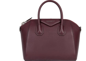 Givenchy Antigona Tote Grained Leather Silver-tone Small Eggplant