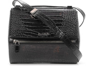 Givenchy Pandora Box Messenger Crocodile Embossed Medium Black