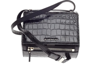 Givenchy Pandora Box Messenger Crocodile Embossed Mini Black