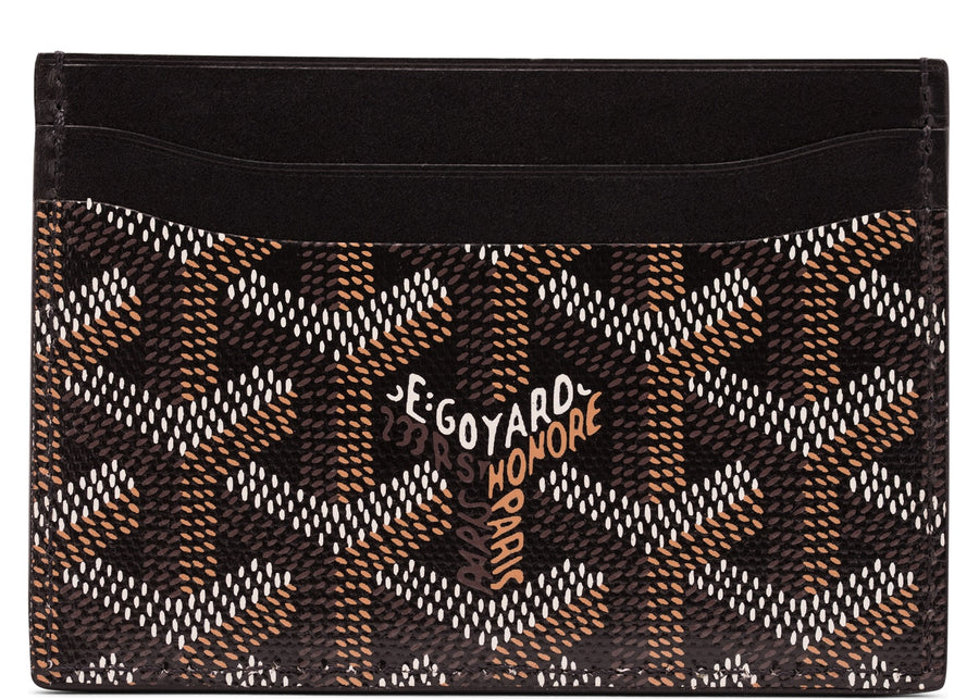 Authentic Goyard Saint Sulpice Card Holder Monogram Chevron Multicolor Black 2