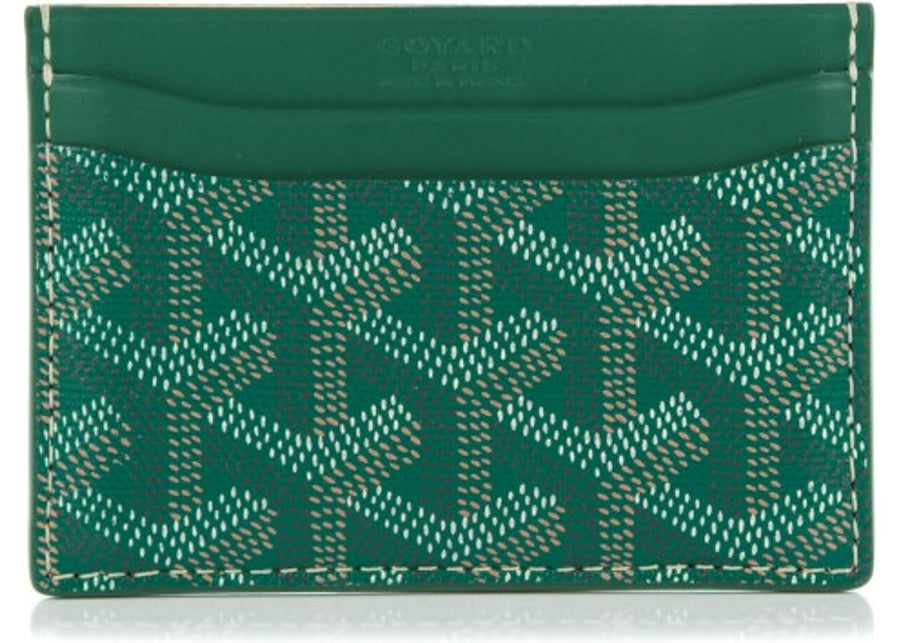 Authetic Goyard Saint Sulpice Card Case Chevron Green 2