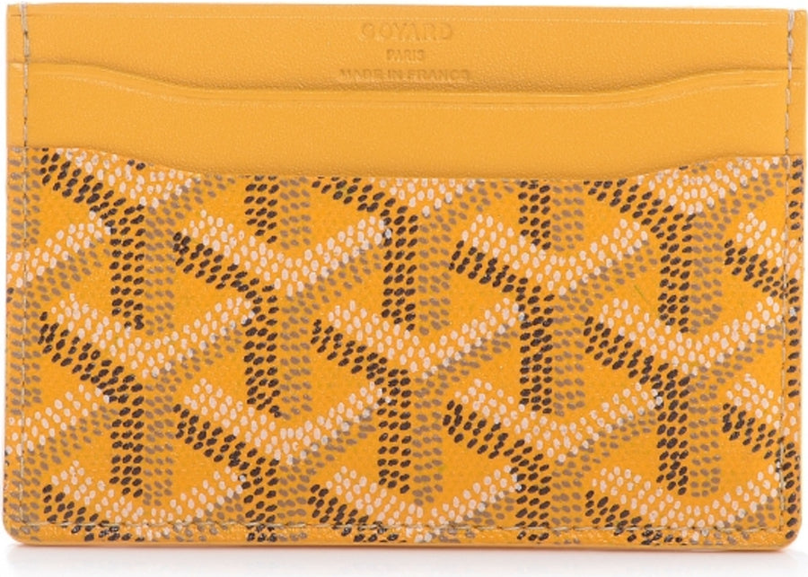 Authentic Goyard Saint Sulpice Card Holder Chevron Yellow 2