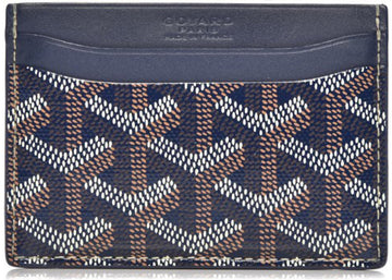 Authentic Goyard Saint Sulpice Card Holder Monogram Chevron Navy 1