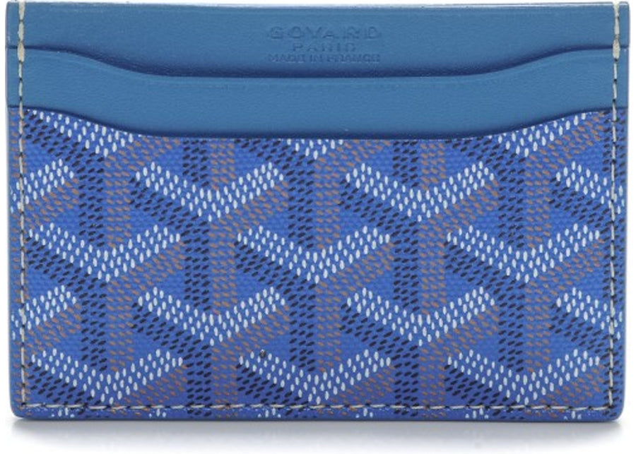 Authentic Goyard Saint Sulpice Card Holder Monogram Chevron Sky Blue 2