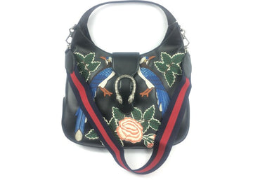 Gucci Apollo Dionysus Hobo Embroidered (With Web Strap) Black