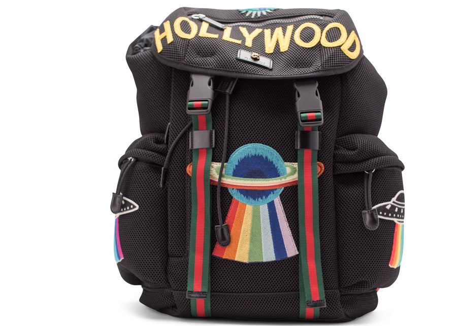 Gucci Mesh Embroidery Backpack Hollywood/UFO/Planet Embroidery Red/Black/Green/