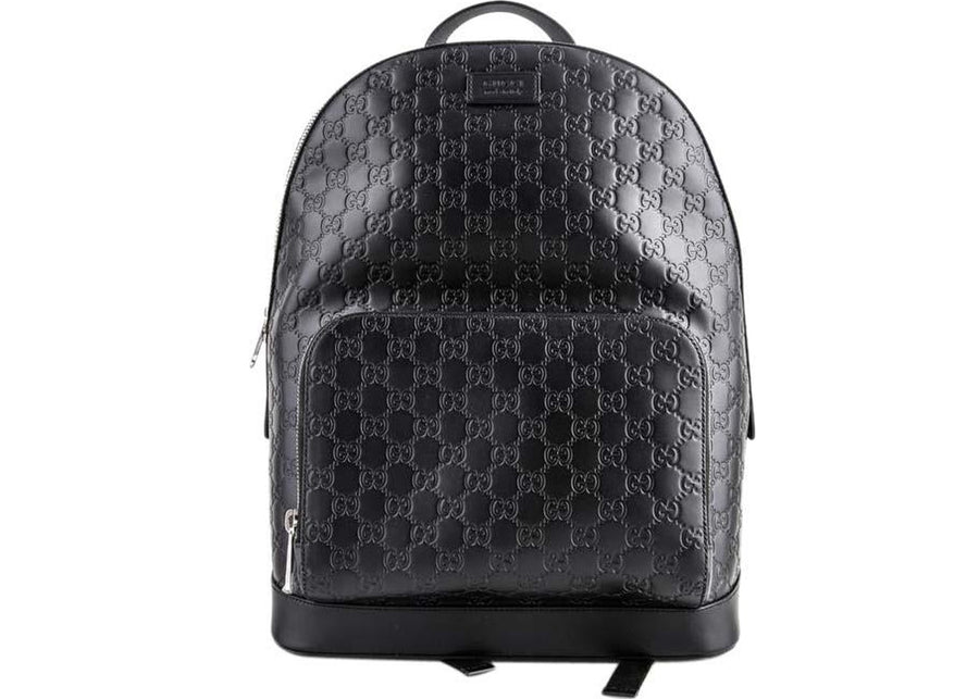 Gucci Signature Backpack GG Monogram Front Zipper Pocket/Embossed Black