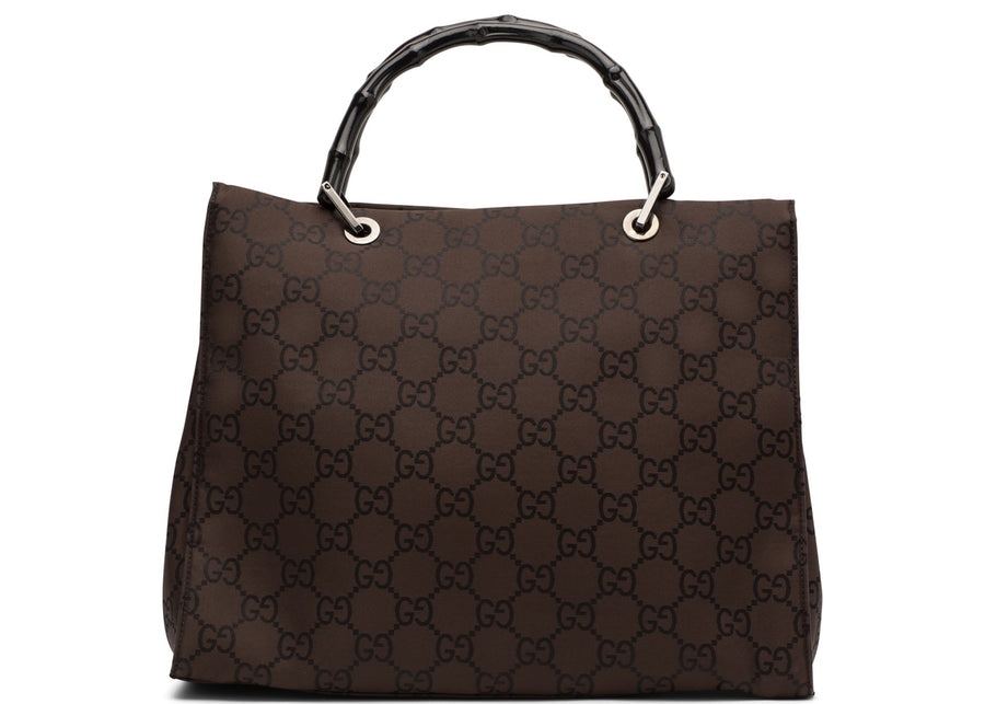 Authentic Gucci Bamboo Handle Tote Monogram GG Brown