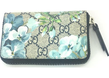 Authentic Gucci Bloom Floral Card Case Supreme GG Blue/Brown Multicolor
