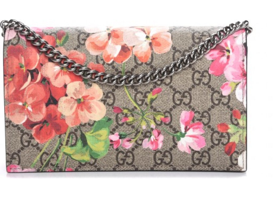 Authentic Gucci Chain Wallet Monogram GG Supreme Blooms Antique Rose