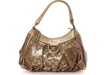Gucci D Gold Hobo GG Crystal Gold Tone
