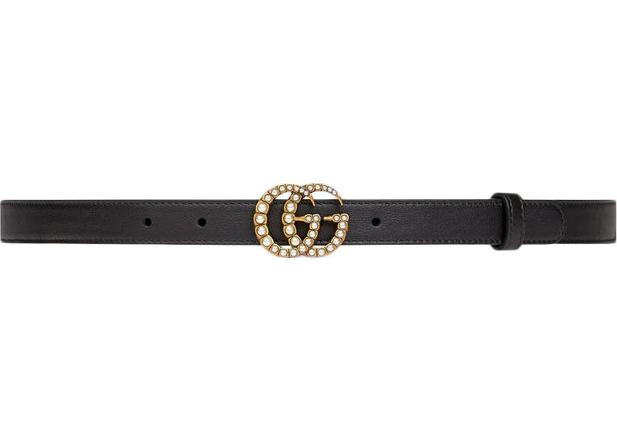 Gucci Double G Belt Pearl Buckle Black