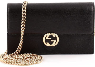 Gucci Interlocking Chain Wallet Crossbody Black