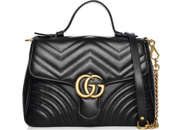 Gucci Marmont Top Handle Chevron Small Black