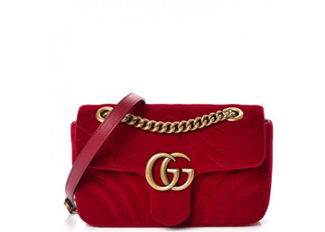 Gucci Marmont Shoulder Matelasse Interlocking GG Mini Red