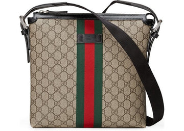 Authentic Gucci Messenger Supreme Web GG Brown/Red/Green
