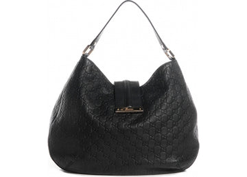 Gucci New Ladies Web Hobo Guccissima Large Black