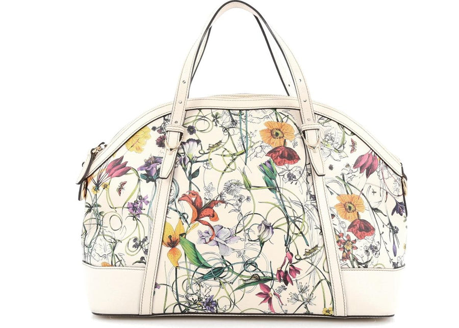 Authentic Gucci Nice Top Handle Flora Medium White