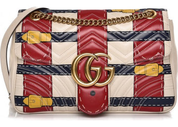 Gucci Marmont GG Matelasse Trompe L'Oeil Medium White/Red/Blue