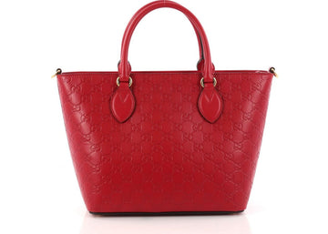 Gucci Signature Convertible Tote Guccissima Medium Red