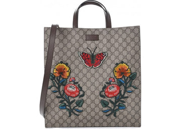 Gucci Soft Tote Monogram GG Supreme Embroidered Floral and Butterfly Brown