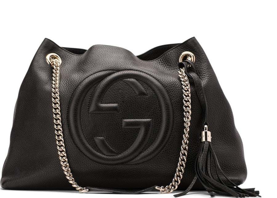 Gucci Soho Shoulder Bag Chain Strap Medium Black