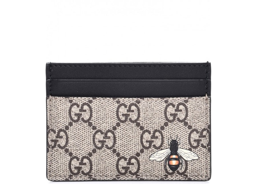 Authentic Gucci Card Case Wallet Monogram GG Bee Print Black/Beige