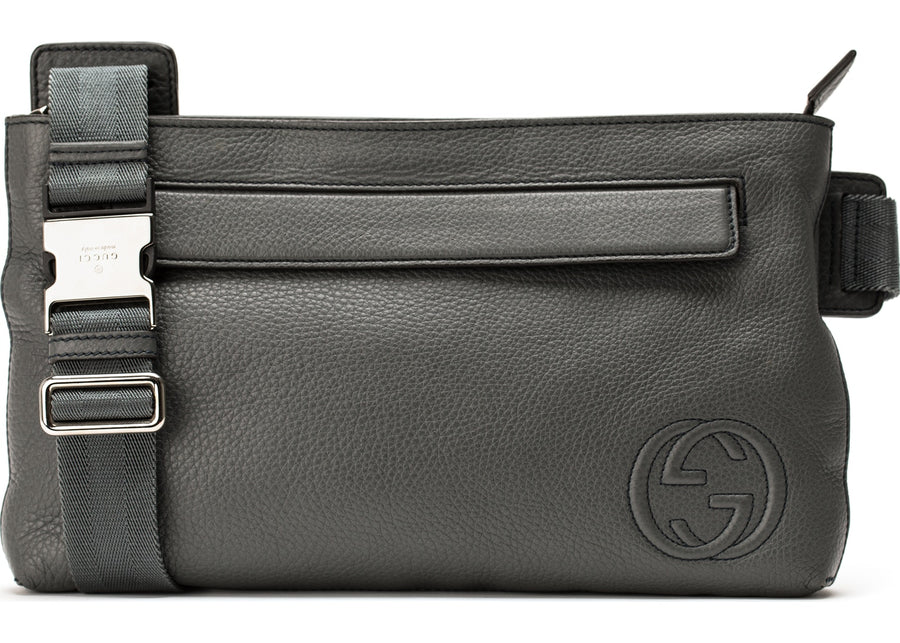 Authentic Gucci Interlocking GG Crossbody Messenger Gray