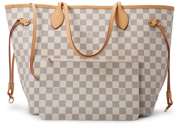 Louis Vuitton Neverfull (With Pouch) Damier Azur MM Rose Ballerine