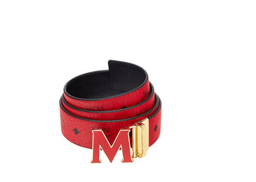 MCM Claus Enamel M Reversible Belt Visetos 1.75W One Size Ruby Red