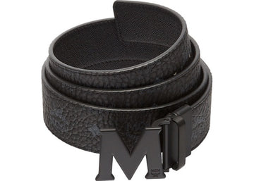 MCM Claus M Reversible Belt Visetos Matte Black-tone 1.75W 51In/130Cm Black