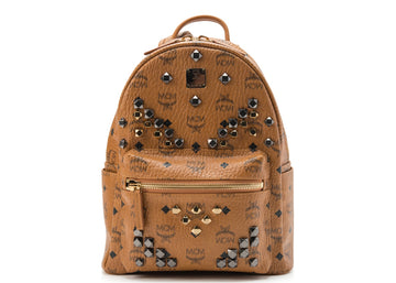MCM Stark Backpack Visetos M Studs Small Cognac