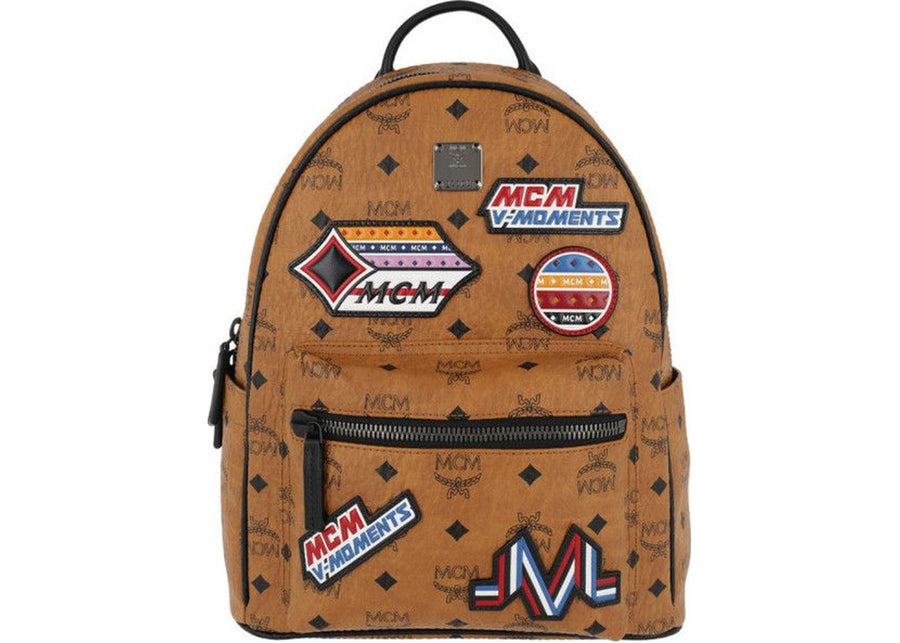 MCM Stark Backpack Visetos Victory Patches Small Cognac