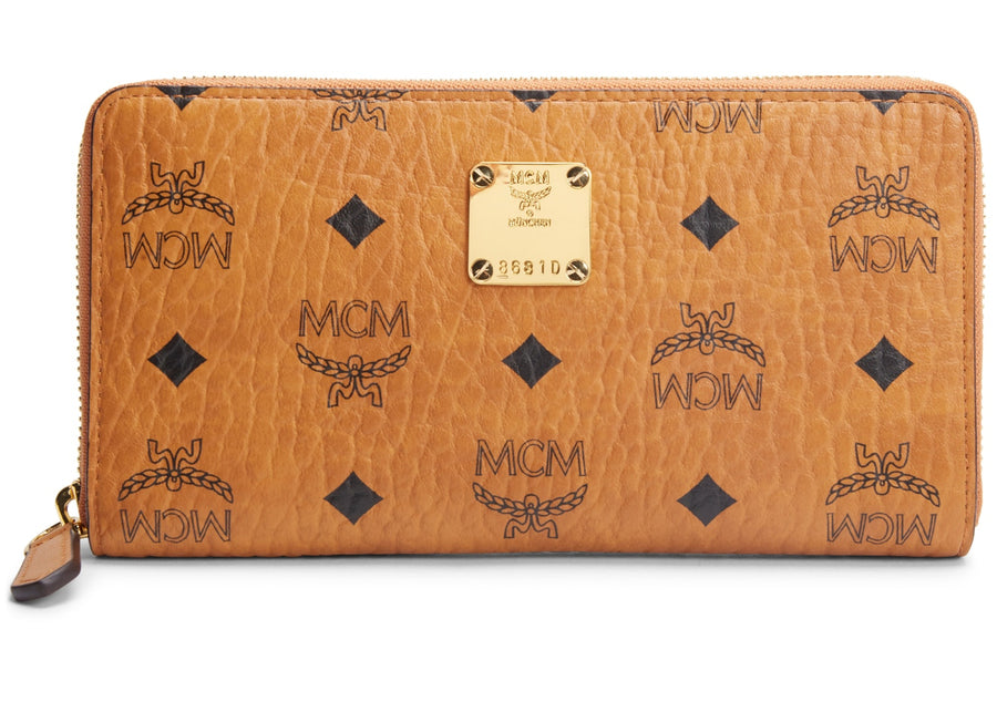 MCM Zip Around Wallet Heritage Cognac