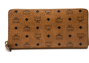 MCM Zip Around Wallet Original Visetos Large Cognac