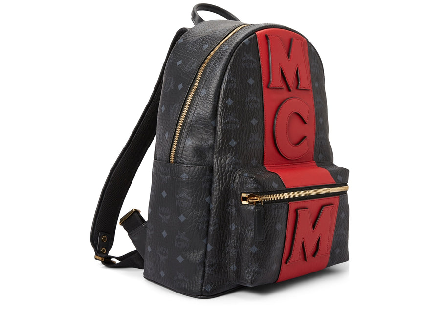MCM Stark Backpack Visetos Logo Stripe Black/Red