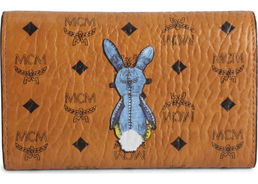 MCM Trifold Wallet Visetos Rabbit Medium Cognac Pink