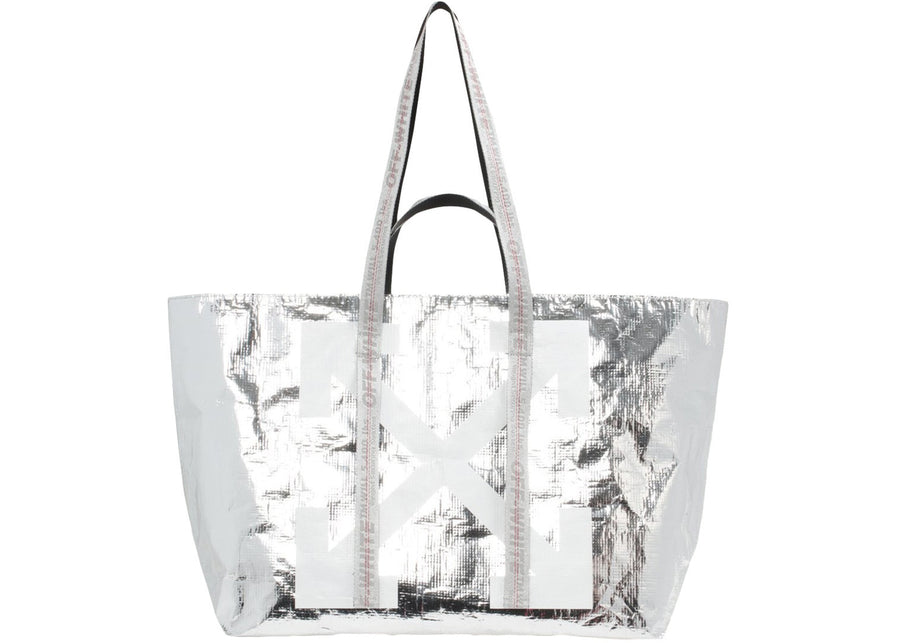 OFF-WHITE Arrows Tote Bag Silver White
