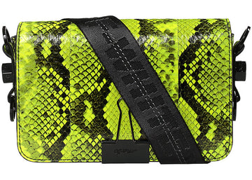 OFF-WHITE Binder Clip Bag Python Mini Fluo Yellow