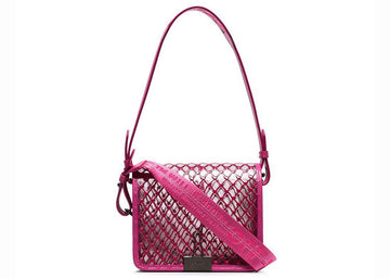 OFF-WHITE Binder Clip Bag Transparent Mesh Fuchsia