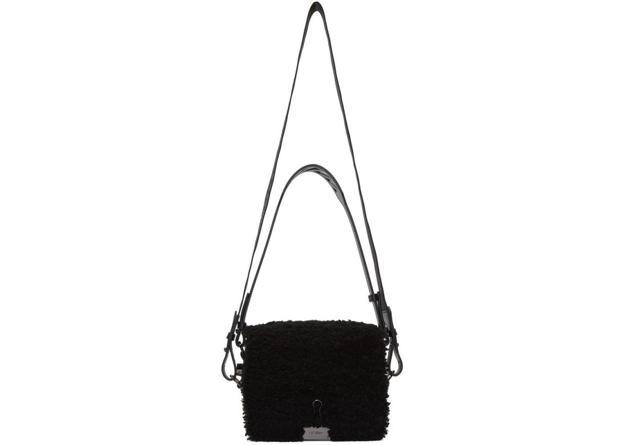 OFF-WHITE Montone Binder Clip Bag Furry Black