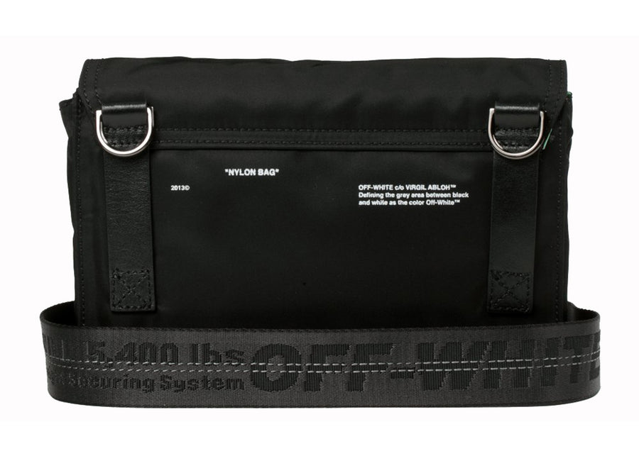 OFF-WHITE Nylon Zipped Flap Bag Black