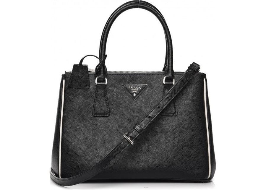 Prada Galleria Double Zip Tote Piping Saffiano With Accessories Small Nero/Talco